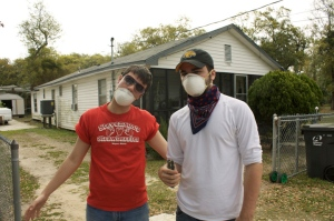 From left, Danny Pellerin and Seth Pearce prepare for work together. Photo: Chloe Goodwin, '12, PBH volunteer